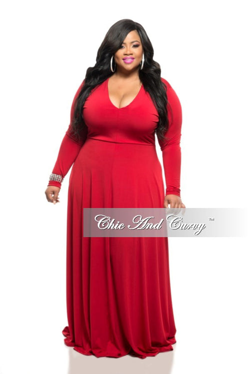 50% Off Sale - Final Sale Plus Size Long Dress with V-Neck and Long Sleeves in Red