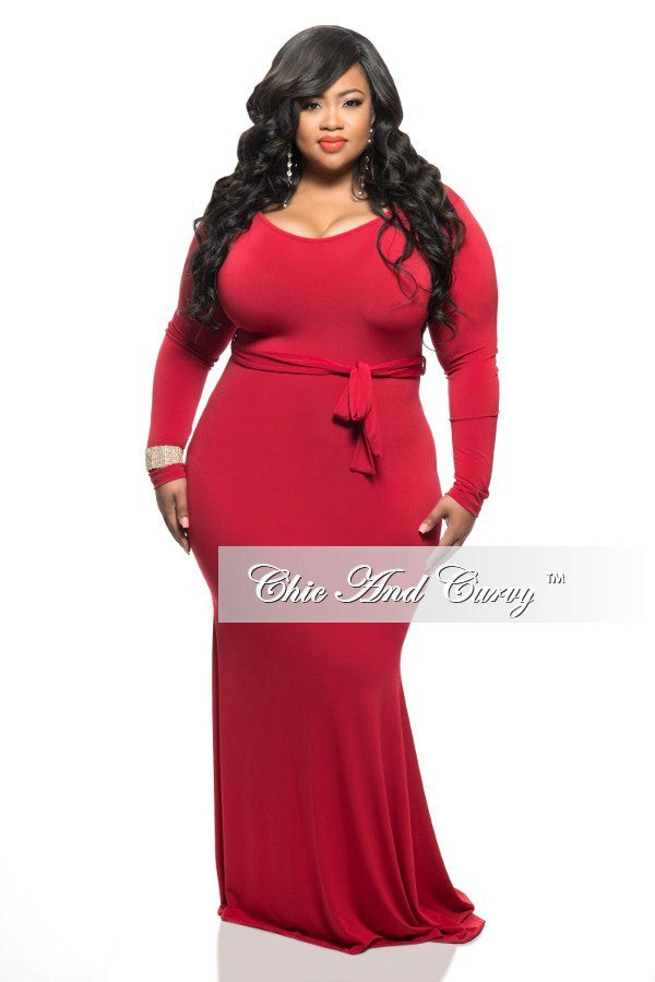 New Plus Size Long Dress with Tie in Red
