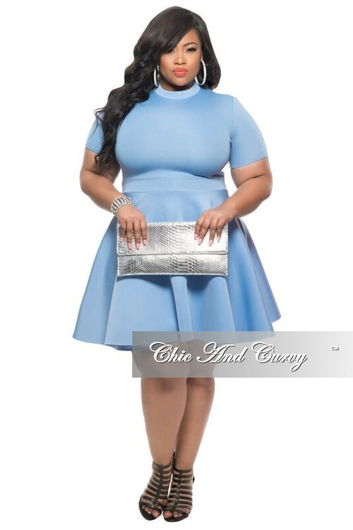 New Plus Size Skater Dress with Short Sleeves in Baby Blue