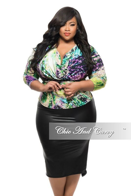 New Plus Sized Top with 3/4 Sleeves and Cowl Neck in Purple and Green Floral Print