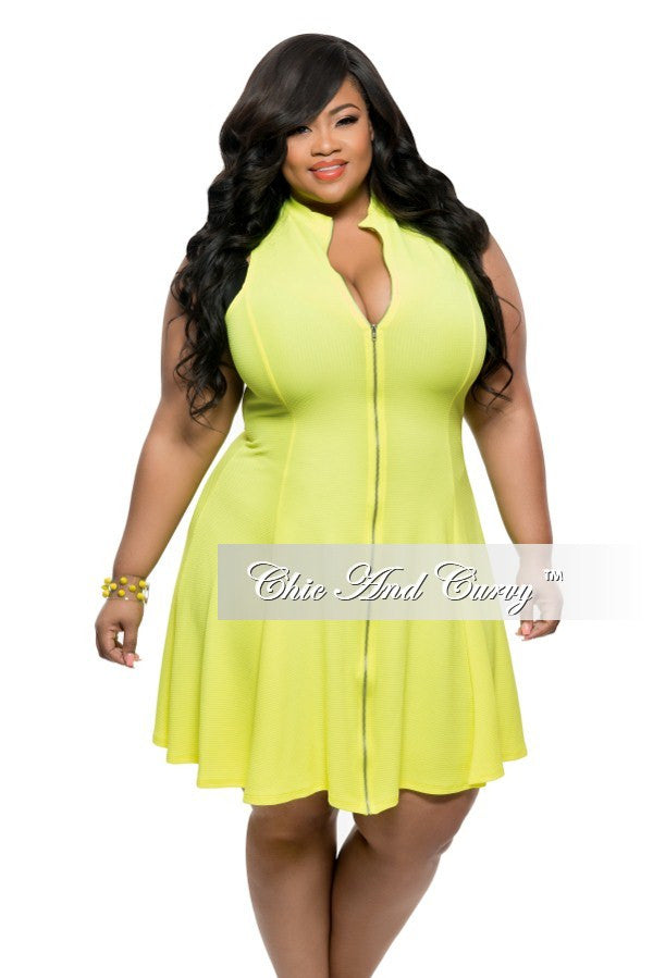 New Plus Size Skater Dress Sleeveless with Zipper Front in Neon Yellow