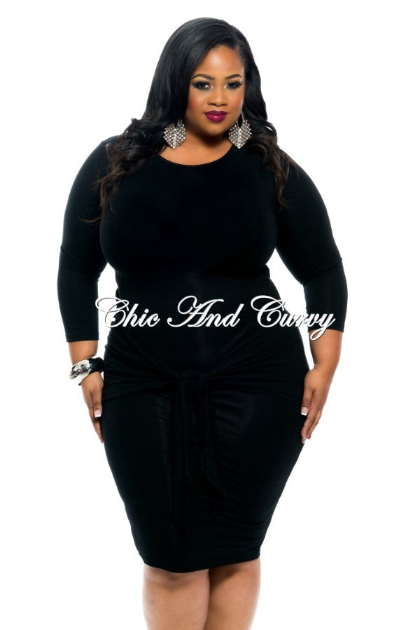 New Plus Size BodyCon with Tie Front in Black