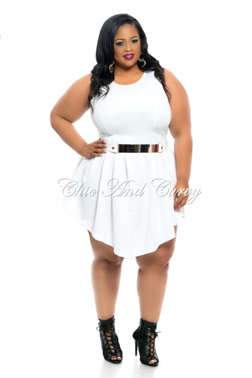 Final Sale Plus Size Sleeveless Skater Dress in White or Black