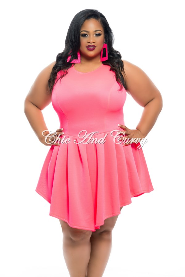 51828e95e5 50% Off Sale - Final Sale Plus Size Sleeveless Skater Dress in Neon Co –  Chic And Curvy