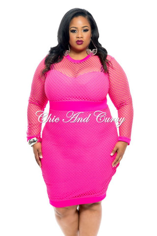 Final Sale Size BodyCon with Long Net Sleeves in Hot Pink