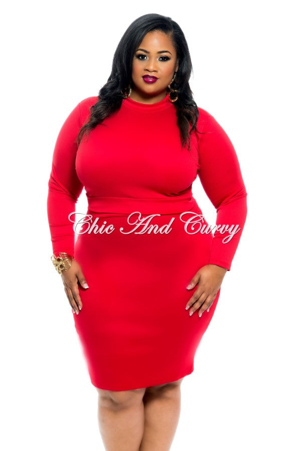 New Plus Size 2-Piece Set Long Sleeve Crop Top and Pencil Skirt with Gold Zipper Back in Red
