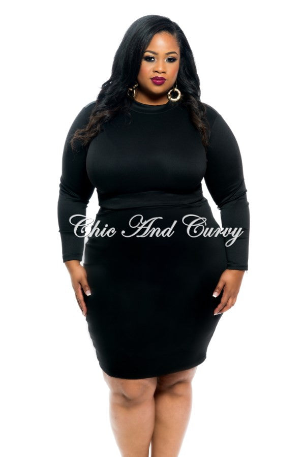 New Plus Size 2-Piece Set Long Sleeve Crop Top and Pencil Skirt ...