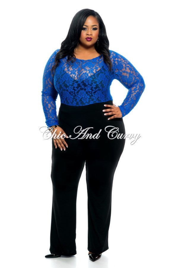 Final Sale Plus Size Jumpsuit with Solid Black Pant and Lace Top in Blue