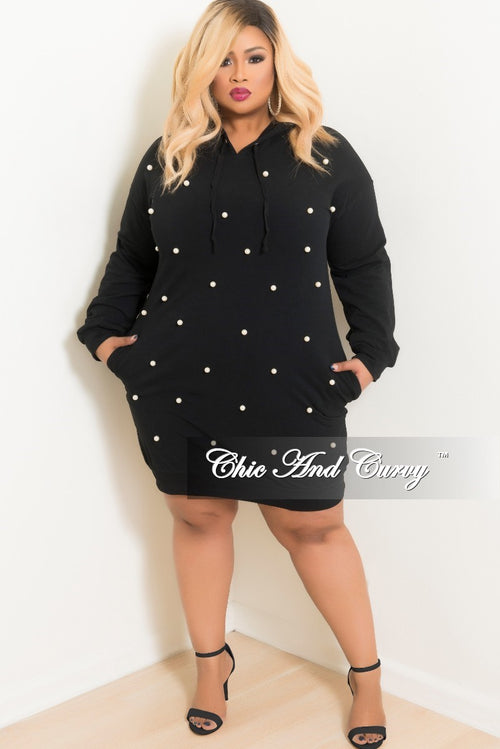 Final Sale Plus Size Pearl Beaded Pull Over Hooded Dress in Black