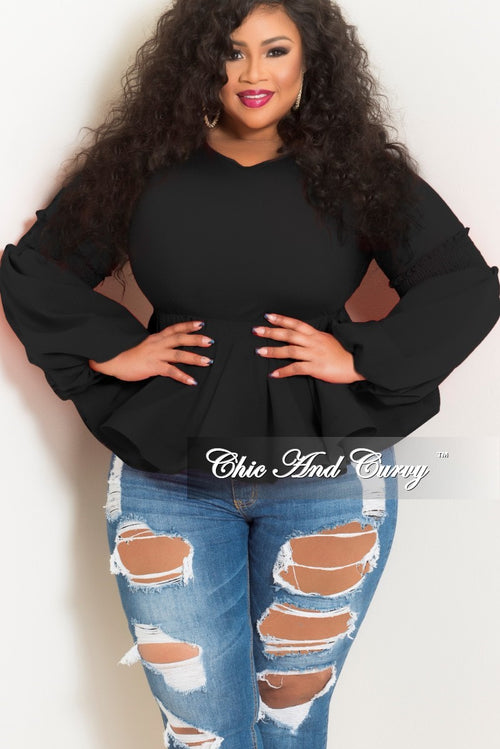 New Plus Size Top with Puffy Sleeves and Ruffle Bottom in Black