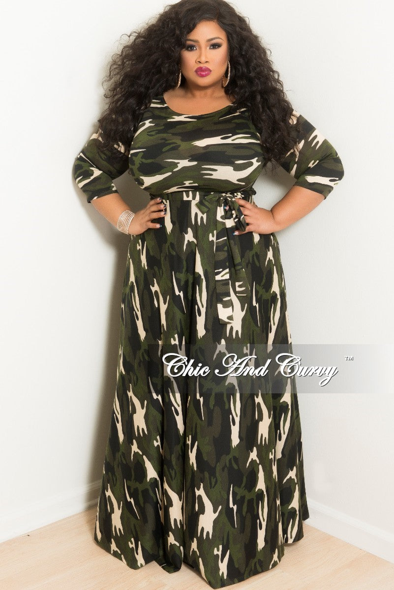 New Plus Size Long Pocket Dress with 3/4 Sleeve and Tie in Dark Camouflage Print