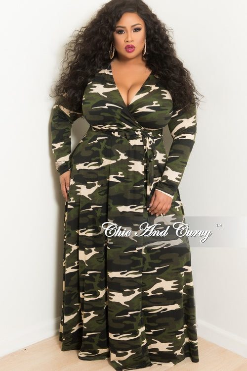 Final Sale Plus Size Long Wrap Dress with Attached Tie in Dark Camouflage Print