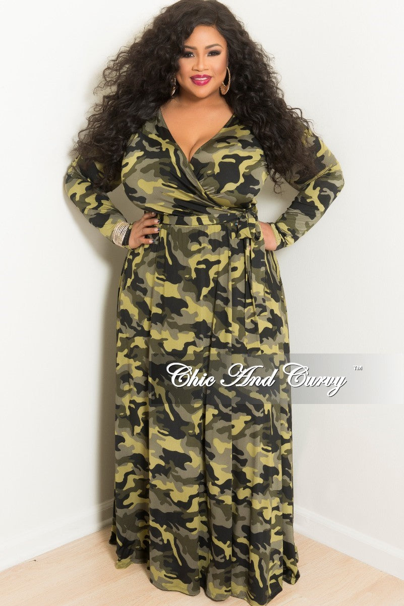 Final Sale Plus Size Sale Plus Size Long Wrap Dress with Attached Tie in  Light Camouflage Print