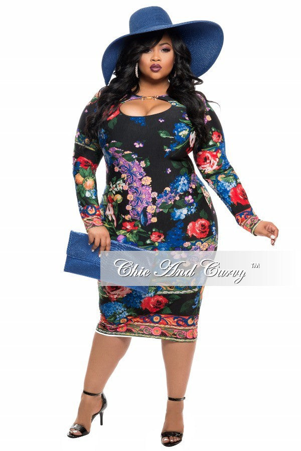 Final Sale Plus Size BodyCon Dress with Cutout in Black Blue, Red and Green Floral Print