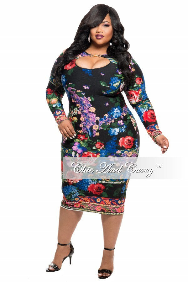Final Sale Plus Size BodyCon Dress with Cutout in Black Blue, Red ...