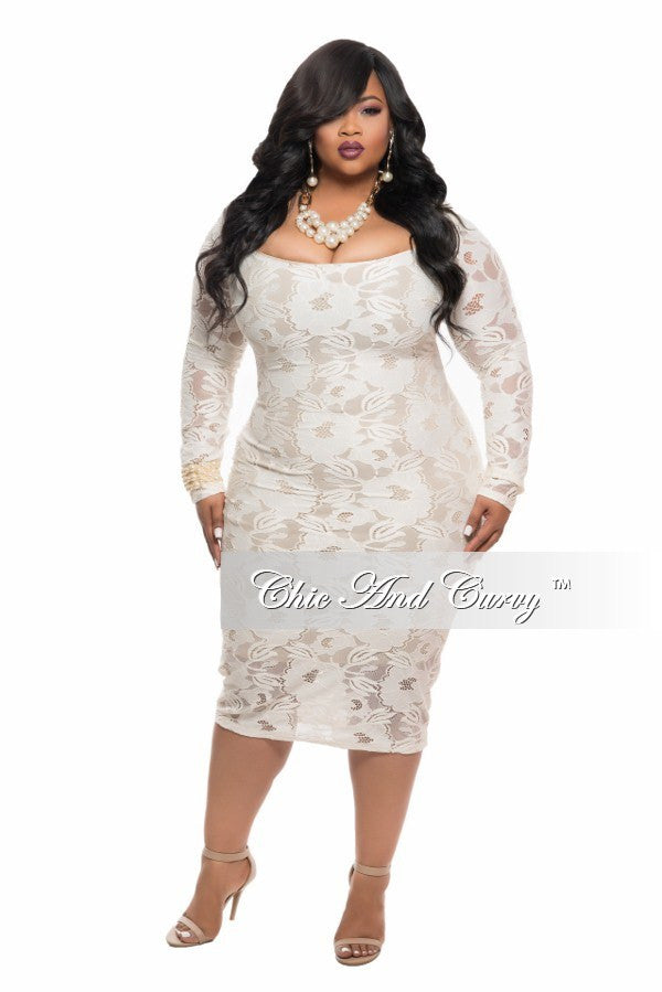 Final Sale Plus Size BodyCon Lace Dress in Off White