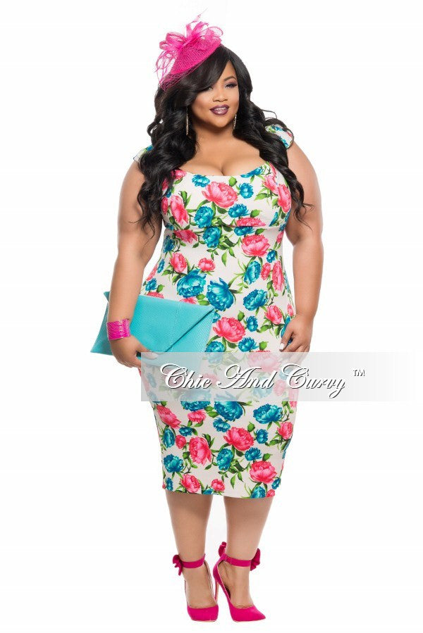 New Plus Size BodyCon Dress in White, Blue and Red/Pink Floral ...