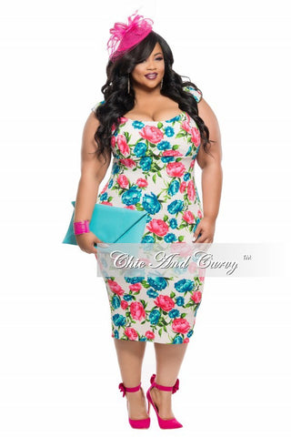 Final Sale Plus Size BodyCon Long Dress in Blue and Red Floral Print
