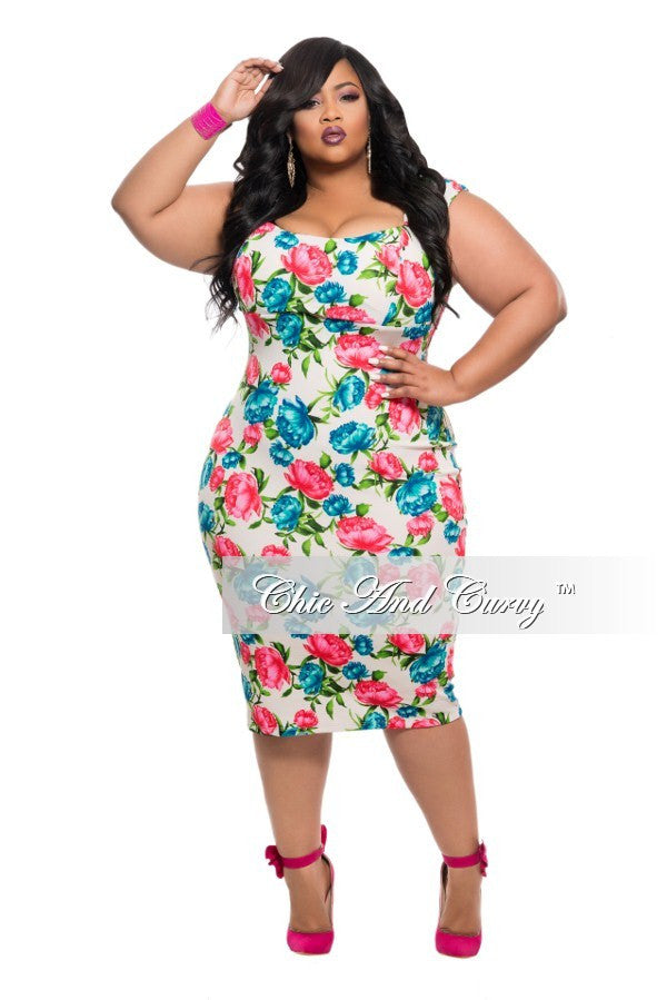 new plus size bodycon dress in white, blue and red/pink floral