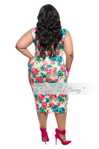 New Plus Size BodyCon Dress in White, Blue and Red/Pink Floral Print