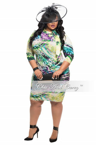 New Plus Size Long Sleeve BodyCon Dress w/ Neck Tie in Green, Light Blue, and Purple Print