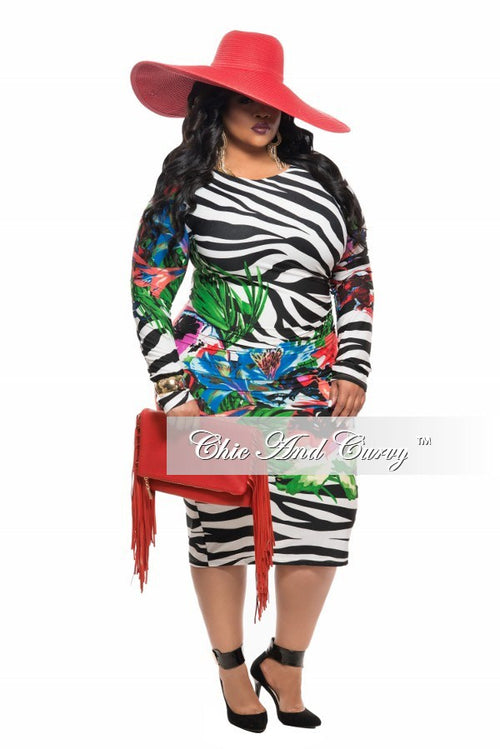 Final Sale Plus Size BodyCon Dress with Zebra and Floral Print