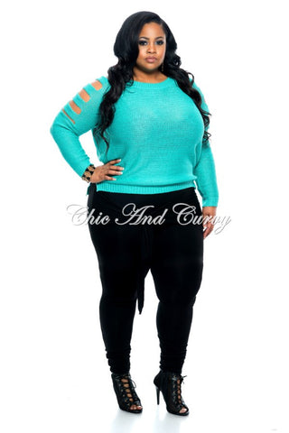 New Plus Size Pants with Attached Belt in Black