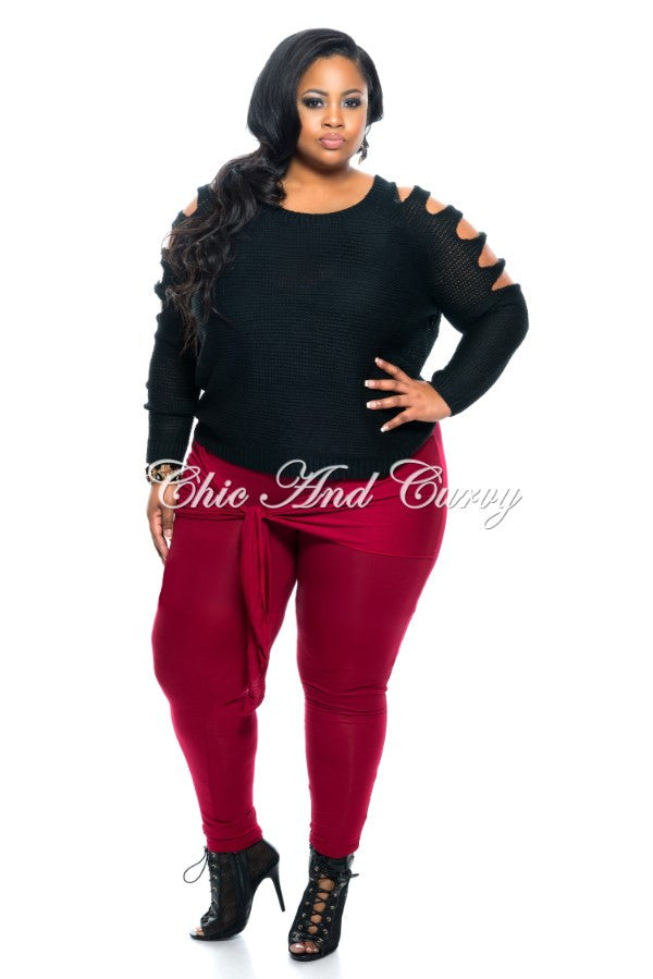Final Sale Plus Size Pants with Attached Belt in Wine