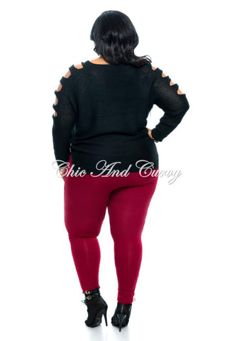 New Plus Size Pants with Attached Belt in Wine