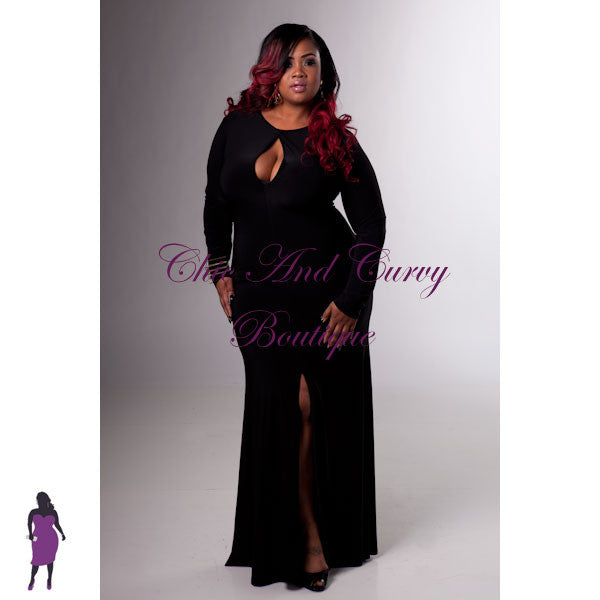 New Plus Size BodyCon Keyhole Floor Length Gown in Black (With Front Slit)