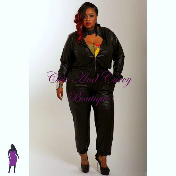 New Plus Size Liquid Jogger Jacket in Black