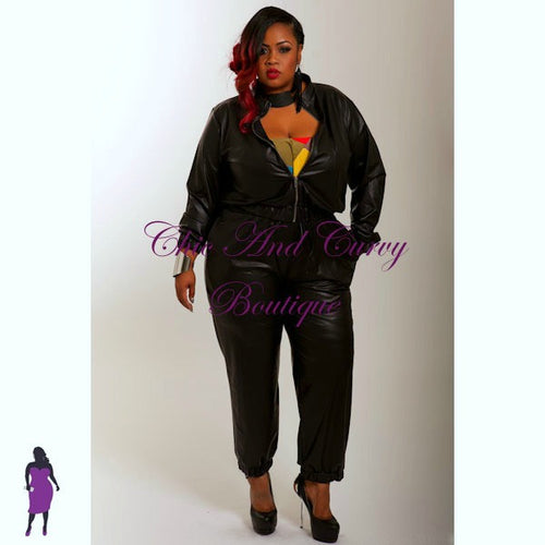 Final Sale Plus Size Liquid Jogger Jacket in Black