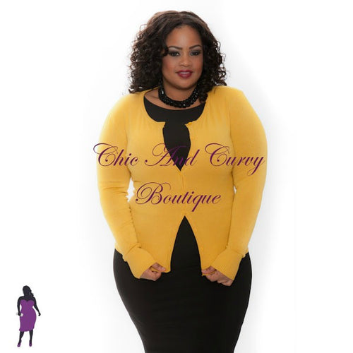 35% Off Sale - Final Sale  Plus Size Cardigan w/ Scoop Neck and Button Front in Mustard