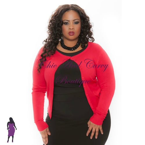 Final Sale Plus Size Cardigan w/ Scoop Neck and Button Front in Red