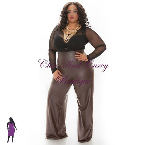 Final Sale Plus Size Liquid Palazzo Pants in Brown