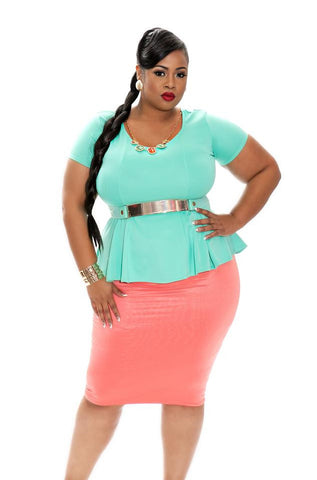 New Plus Size Pencil Skirt in Coral