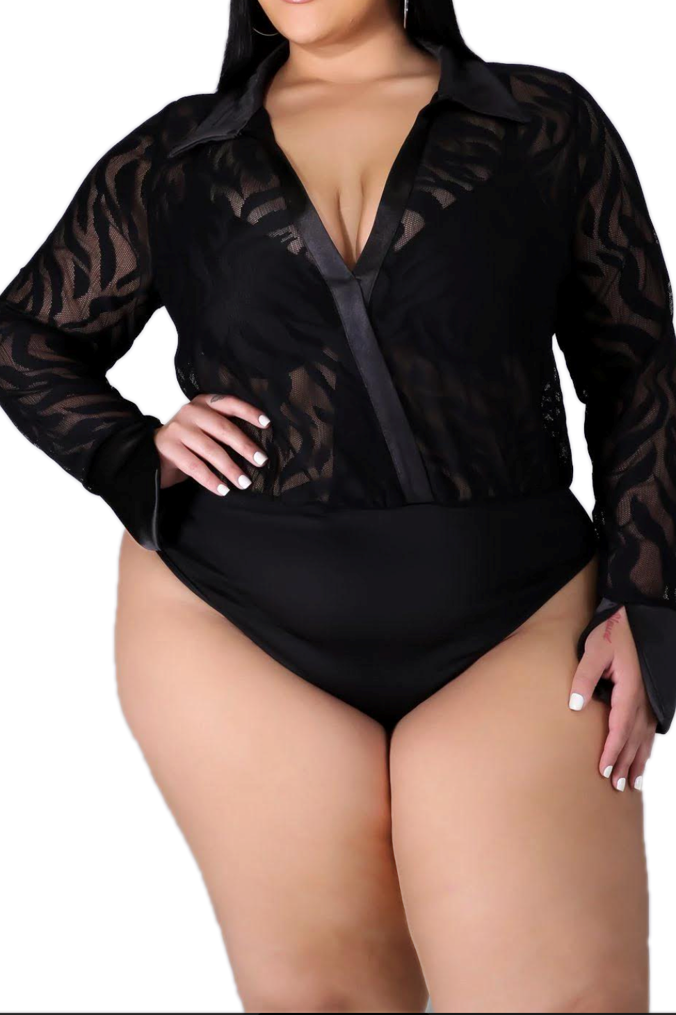 Final Sale Plus Size 2-Piece Sheer Mesh Pant Set in Black Tiger Print