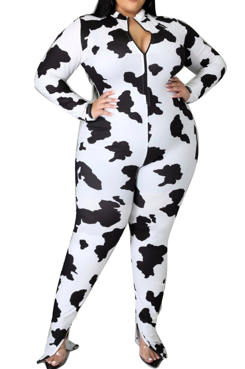 Final Sale Plus Size Zip-Up Jumpsuit in Black & White Cow Print