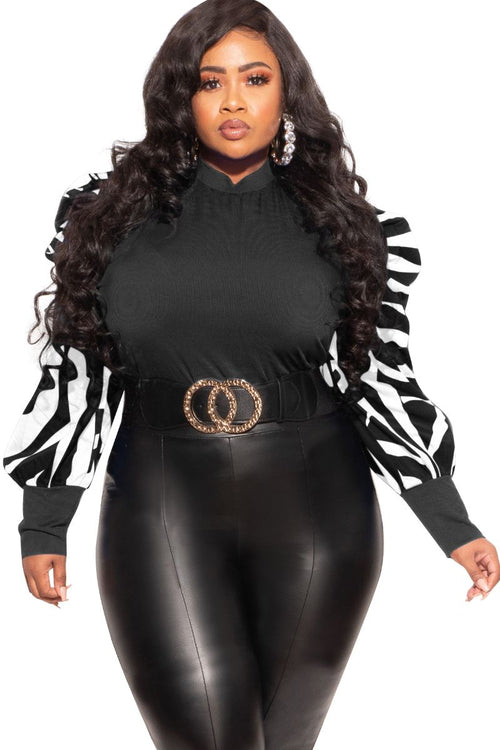 Final Sale Plus Size Top with Puffy Sleeves in Black with Black and White Puff Sleeves