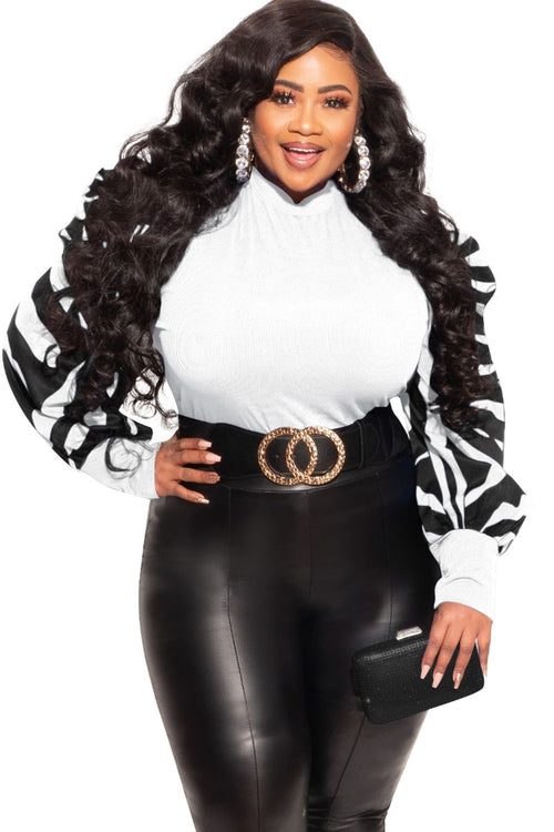 Final Sale Plus Size Top with Puffy Sleeves in White with Black and White Puff Sleeves
