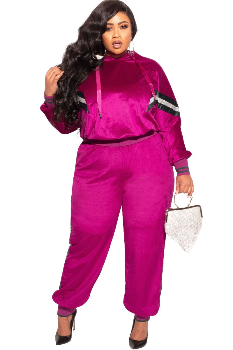 New Plus Size Long Sleeve Hooded Jogging Set in Magenta