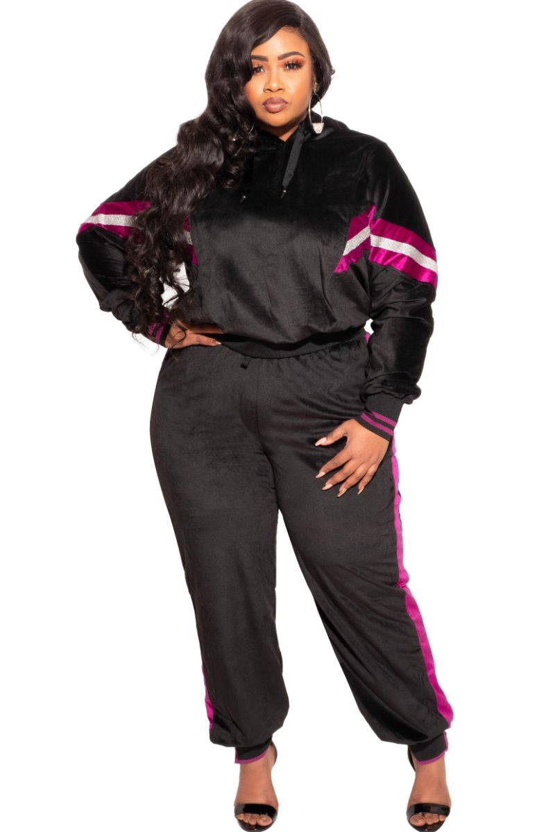 New Plus Size Long Sleeve Hooded Jogging Set in Black