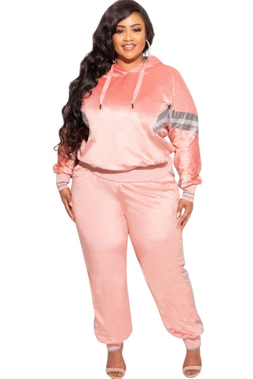 New Plus Size Long Sleeve Hooded Jogging Set in Pink