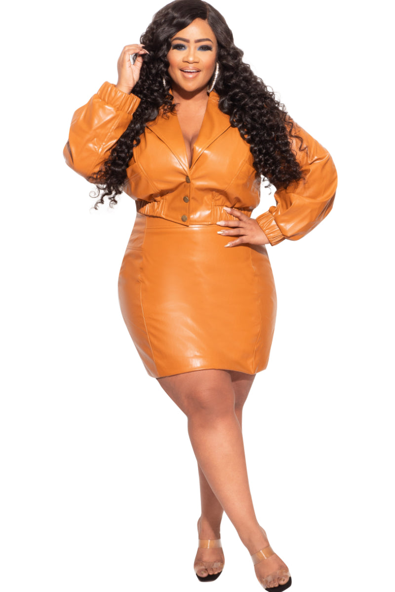 Final Sale Plus Size 2-Piece Vegan Leather Skirt Set in Camel