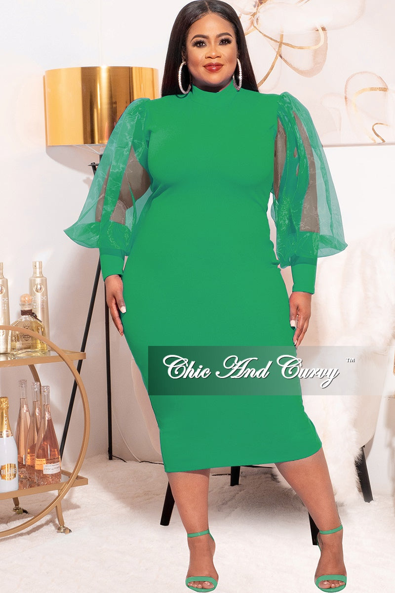 Final Sale Plus Size Sheer Organza Puffy Sleeve Bodycon Dress in Green