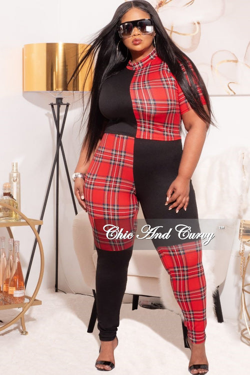 *Final Sale Plus Size 2-Piece Color block Plaid Set with Crop Top & Leggings