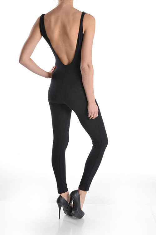 Final Sale Plus Size Tank One Piece Unitard with Plunging Back in Black