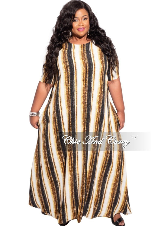 New Plus Size Maxi Dress with Mustard Stripes