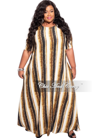 Final Sale Plus Size Bodycon Maxi Dress in Navy & Ivory Stripes