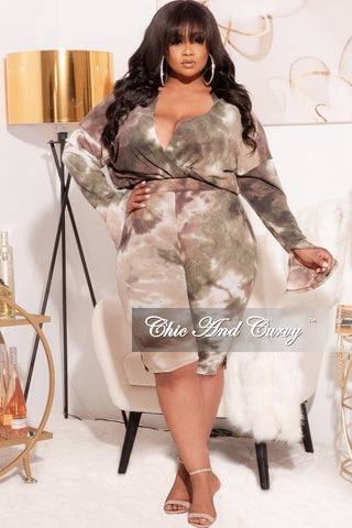 Final Sale Plus Size 2-Piece (T-Shirt & Bermuda Short) Set in Soft Pastel Rainbow Tie Dye